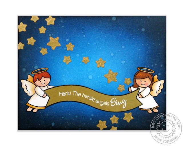 Sunny Studio Stamps: Little Angels Christmas Card by Mendi Yoshikawa