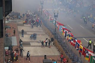 Le marathon de Boston au moment de l'explosion