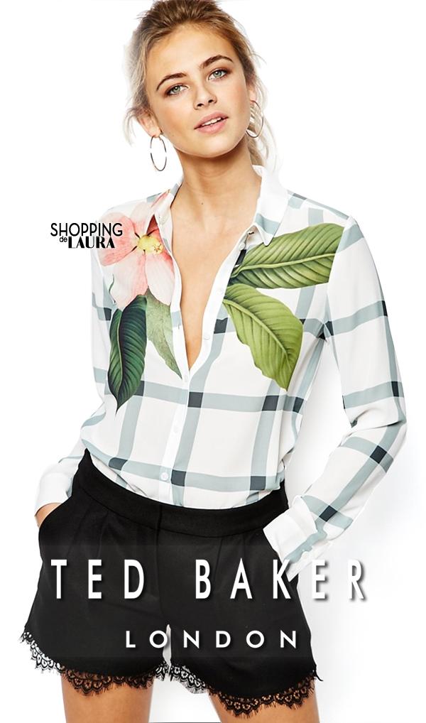 Chemise femme tendance : à carreaux et motif fleurs TED BAKER