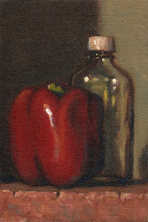Still life oil painting of a red pepper beside a small sample bottle.