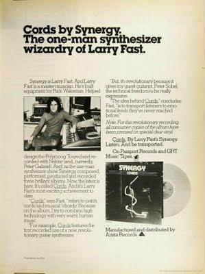 Publicidad del álbum Cords de Synergy aparecido en la revista musical Billboard