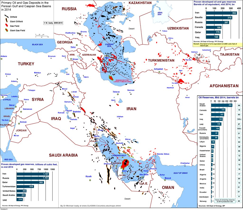 Oil and gas seposits in the Persian Gulf & the Caspian Sea basins