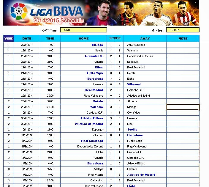 Spanish League Fixtures Today