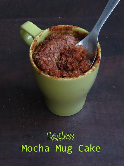 Eggless 1 minute Mocha Mug Cake