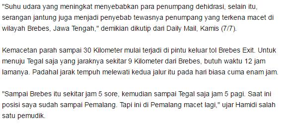 Terbaik Sampe Disorot Media Luar Sebut Jika Kemacetan di Brebes merupakan Kemacetan Terparah di dunia - Commando