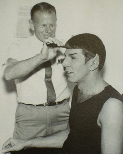 Leonard Nimoy getting his hair done