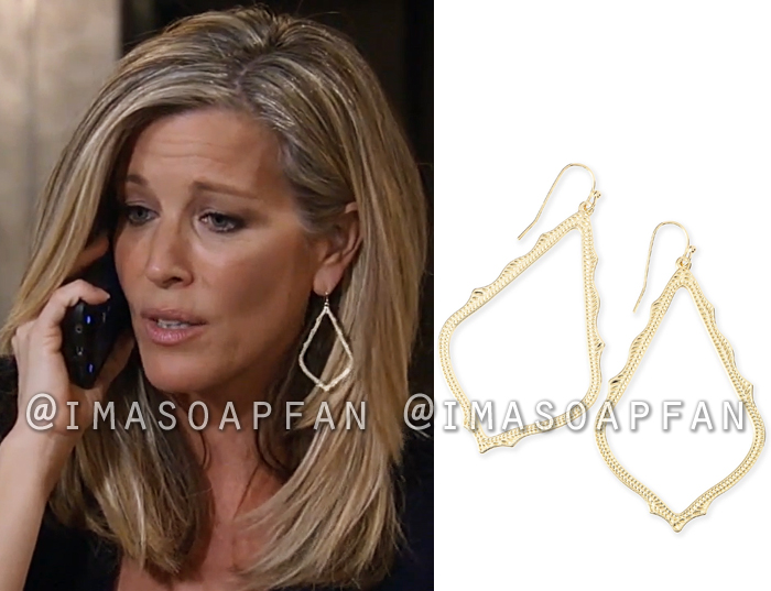 Carly Corinthos, Laura Wright, Gold Scalloped Open Drop Earrings, General Hospital, GH