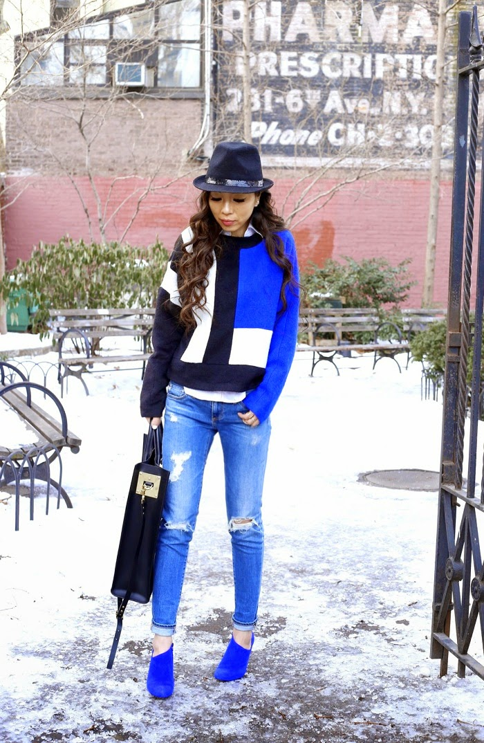 different shades of blue outfit, blue outfit, colorblock outfit, few moda top, AG jeans, sole soceity boots, rachel zoe boots, baublebar rings, marc jacob ring, fashion blog, sophie hulme bag, winter streetstyle, nyc