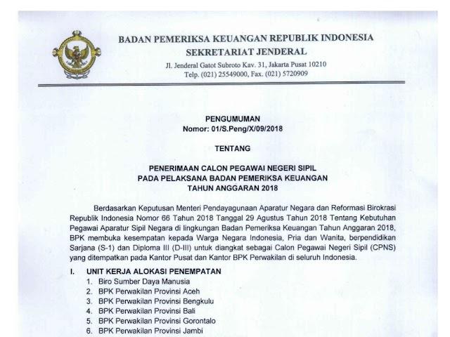 Formasi dan Persyaratan Pendaftaran CPNS di Badan Pemeriksa Keuangan (BPK) 2018