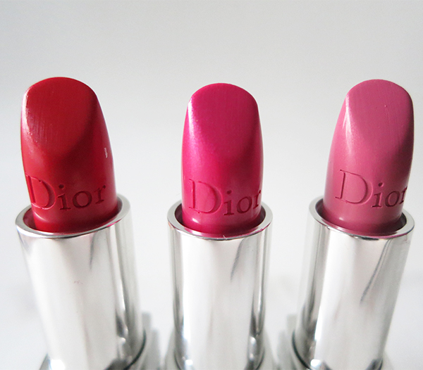 Rouge Dior lipstick in 080 Red Smile, 047 Miss, and 060 Premiere