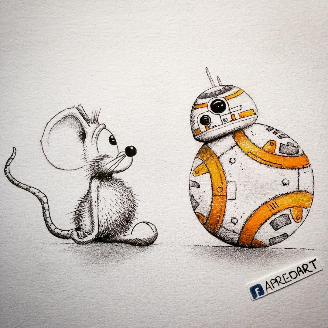 02-Star-Wars-BB-8-Loïc-Apreda-apredart-Drawings-of-Rikiki-the-Mouse-and-his-Famous-Friends-www-designstack-co