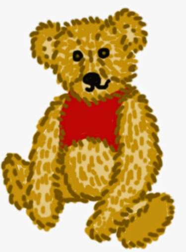 Digitális rajz, Róbert Gida csacsi öreg medvéje, Micimackó piros trikóban ül és magában a tralala, tralala, pritty, pretty, prütty dalt dúdolja.