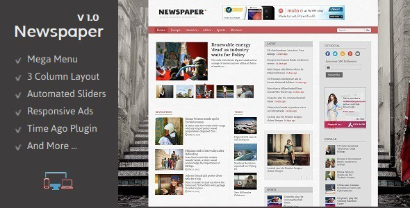 Newspaper Responsive Blogger Template is designed to meet the requirements of news bloggers. With features like Mega Menu, Automated Featured Slider, and Time Ago Support this blogger template delivers all that is required for a news website/blog.