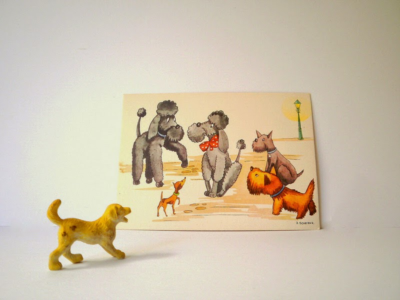 Vintage post card of cute dogs