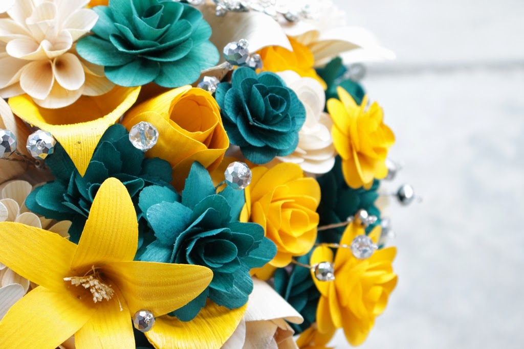 Teal, Mustard Yellow And Gray Wedding: Bouquets Made Of