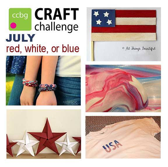 Creative Craft Bloggers Group July Craft challenge red white blue projects