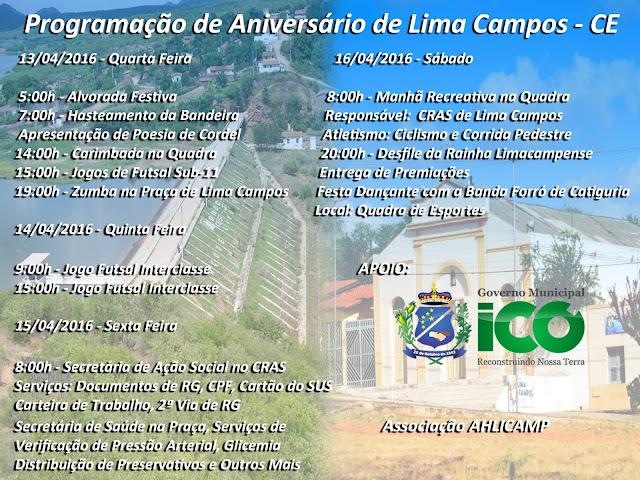 PROGRAMAÇÃO DE ANIVERSÁRIO DE LIMA CAMPOS