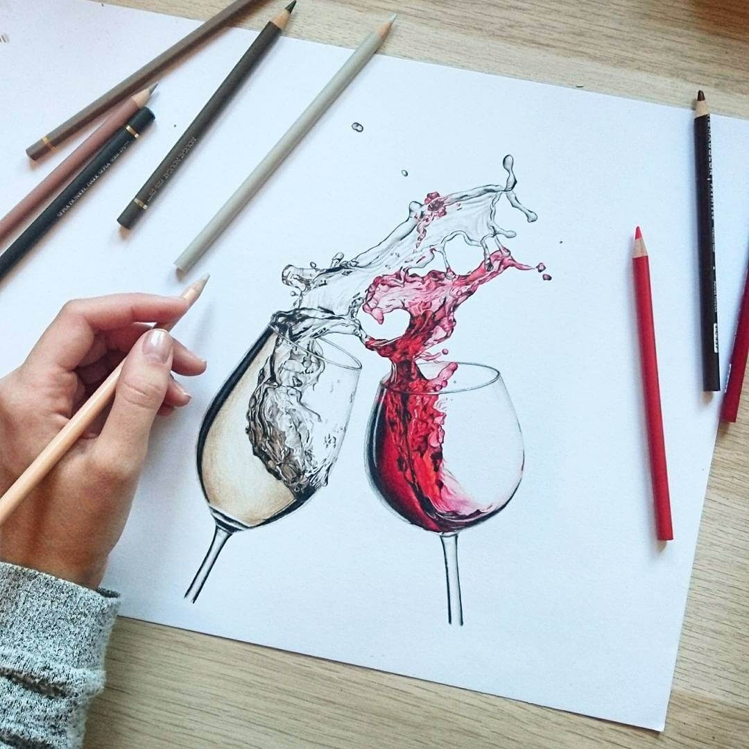 08-Red-and-White-Wine-J-Wuiz-Animals-and-Food-Art-Pencil-Drawings-www-designstack-co