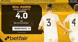betfair supercuota victoria de Real Madrid a Levante liga 9 Septiembre
