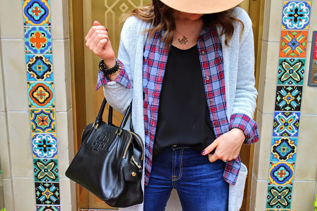 tory burch tassel bag, camel fedora, duster cardigan, plaid top, j.crew plaid top, the best skinny jeans, steve madden booties, monogram necklace, YSL lipstick, highland park village, dallas, jen kubes