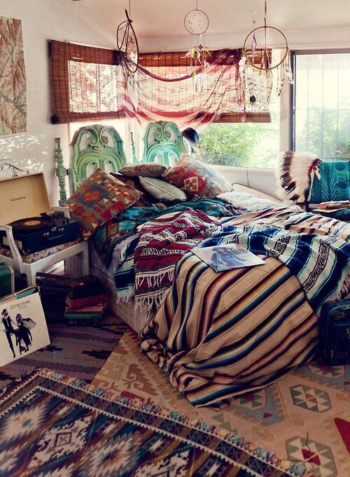 Bohemian bedroom with lots of layers