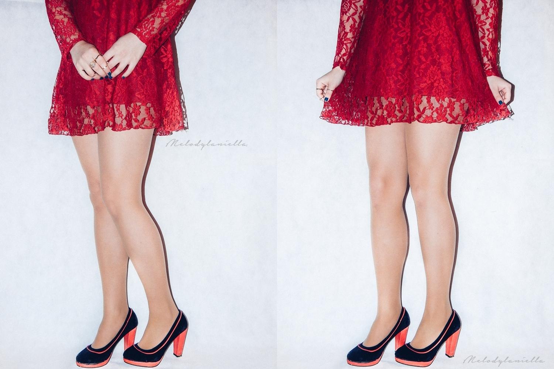 sukienka mini w kolorze wina czerwona styl jakosc ubrania dresslink style fashion porady blog wyglad material koronka
