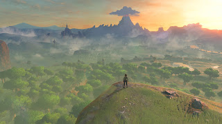Link standing on the cliff at the Shrine of Resurrection at the beginning of the game