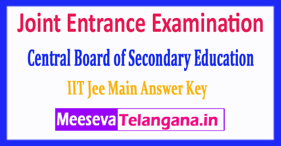 JEE Main Joint Entrance Examination Central Board 2018 Answer Key Download
