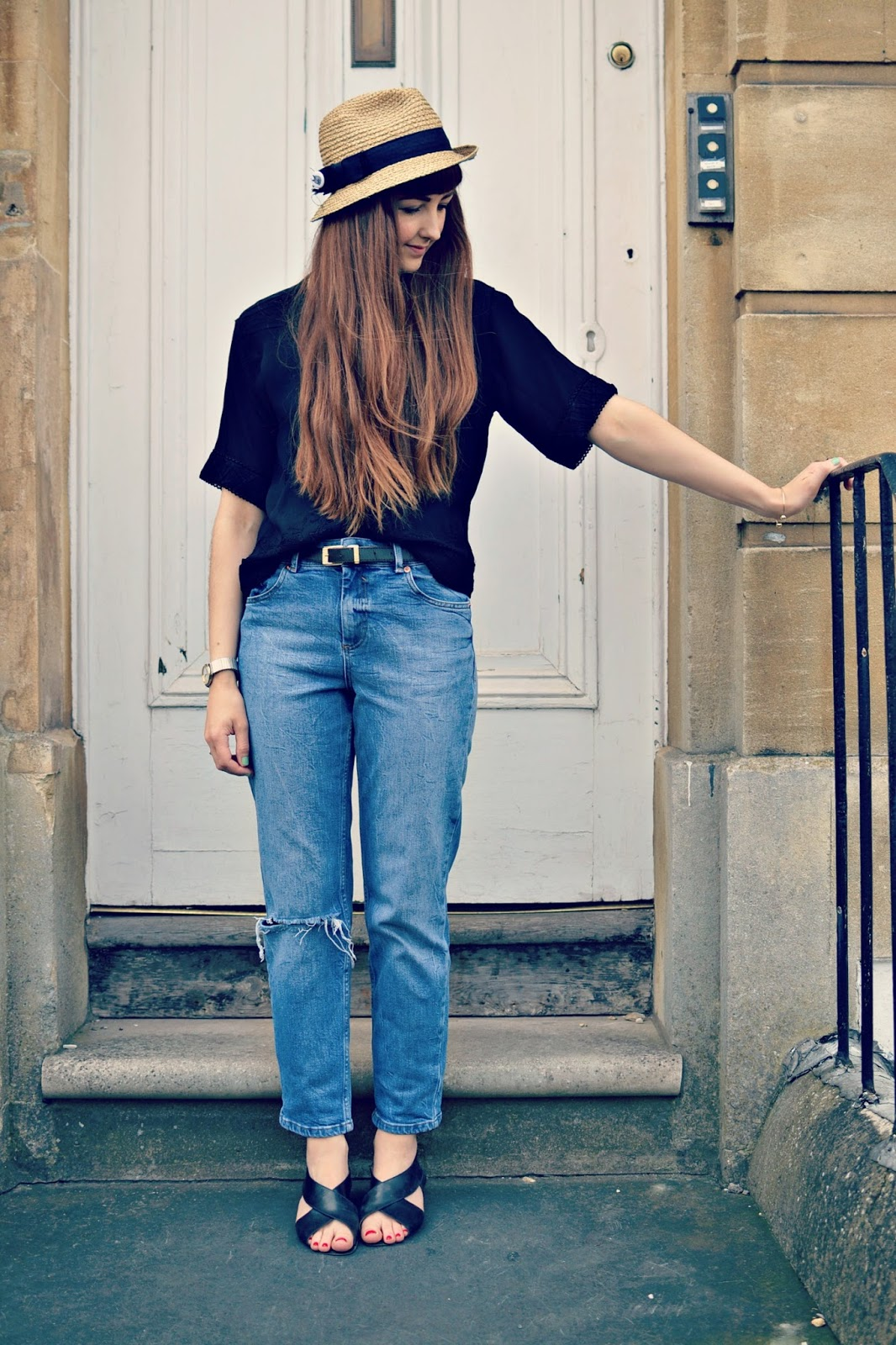 vintage outfit post, asos jeans, vintage blouse