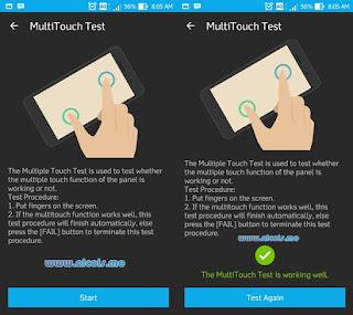 Contoh ketika melakukan multitouch test pada Asus Zenfone 3