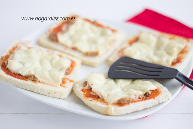 Mini pizzas con pan de molde