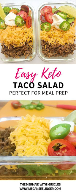 Easy Keto Meal Prep Ground Beef Taco Salad