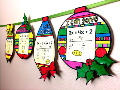 Christmas math solving equations ornaments for Algebra