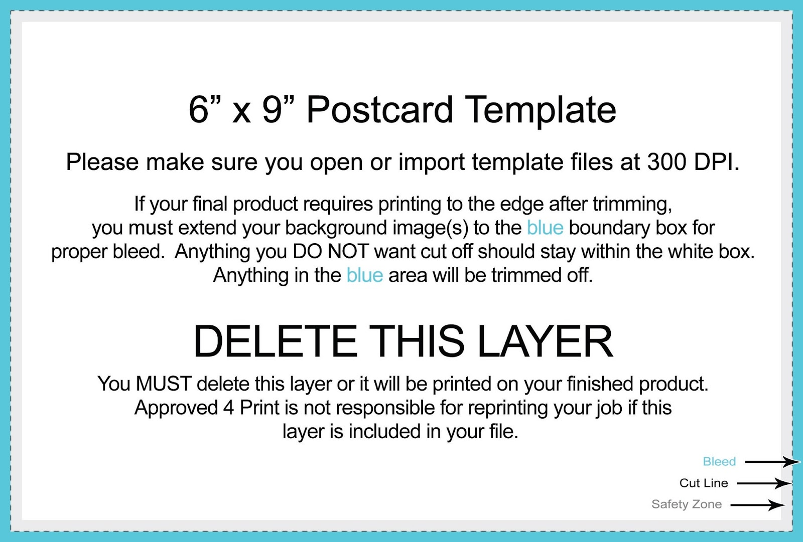 X Postcard Template Photoshop Free Download DTemplates - Card template free: 6x9 postcard template