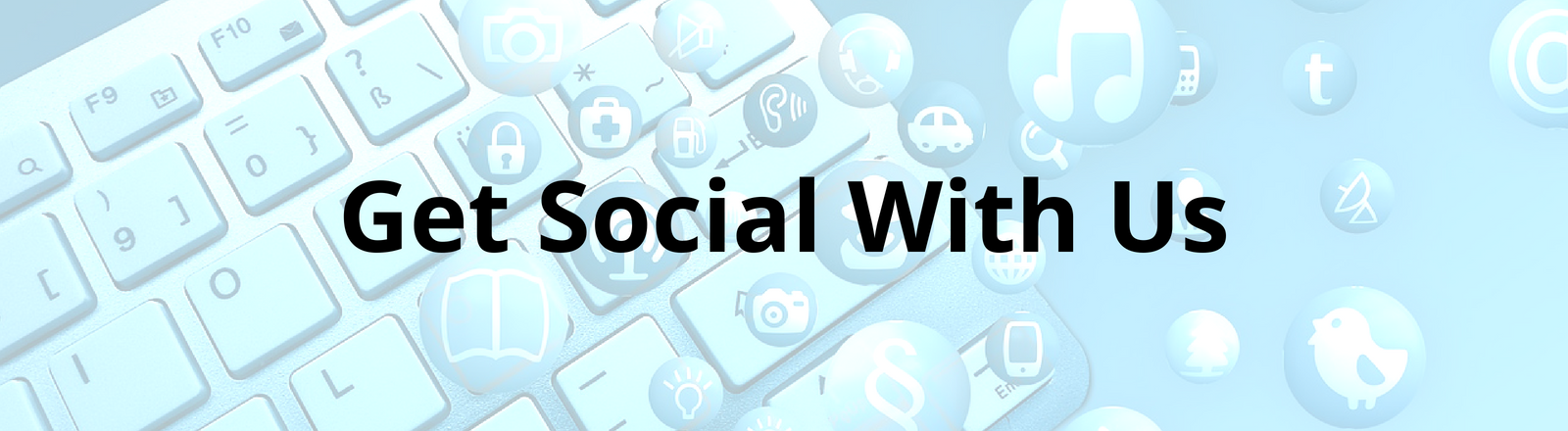 Get social with us banner for landing page