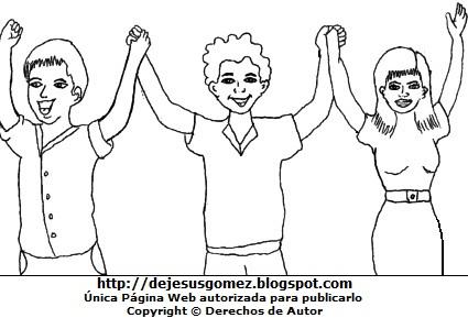 Jóvenes alzando los brazos para colorear o pintar. Dibujo de jóvenes de Jesus Gómez