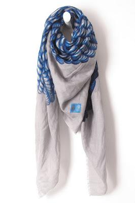 Foulard laine soie gris bleu Mii accessoires