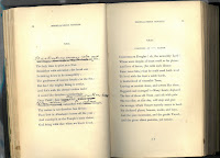 "A two-page spread of pp. 34-35 of the book of sonnets. Wordsworth's Sonnet XXX, ""It Is A Beauteous Evening Calm And Free,"" is on the left-hand page. He has corrected the first line to read as the title, replacing the words ""Air sleeps, from strife or stir the clouds are free;"". The ninth and tenth lines are altered to read ""Dear Child! Dear Girl! That walkest with me here, / If thou appear untouched solemn thought,"". On the right-hand page is the sonnet ""Composed at ____ Castle,"" that begins with the line, ""Degenerate Douglas! oh, the unworthy Lord!"""
