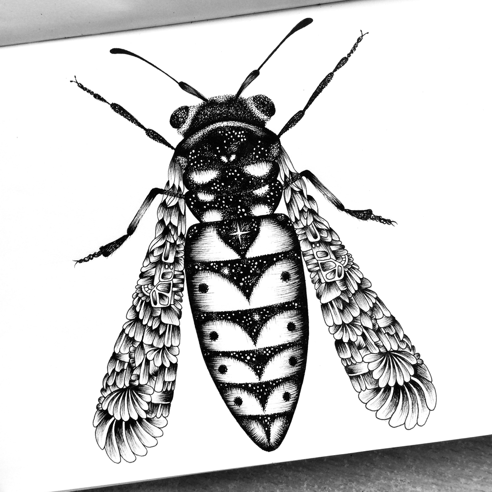 18-Wasp-Pavneet-SembhiSelf-taught-Artist-Creates-Intricate-and-Detailed-Drawings-www-designstack-co
