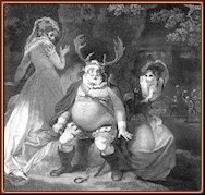 Falstaff entre Mrs. Page y Mrs. Ford, grabado de W. Sharpe