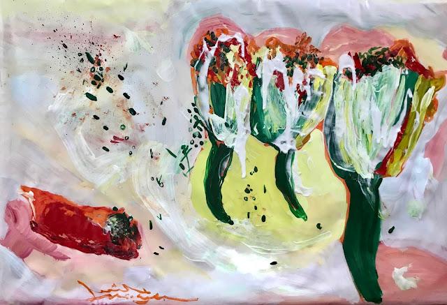 Yummy zucchini flower painting