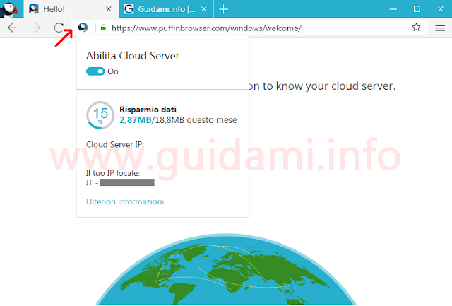 Puffin browser popup Cloud Server