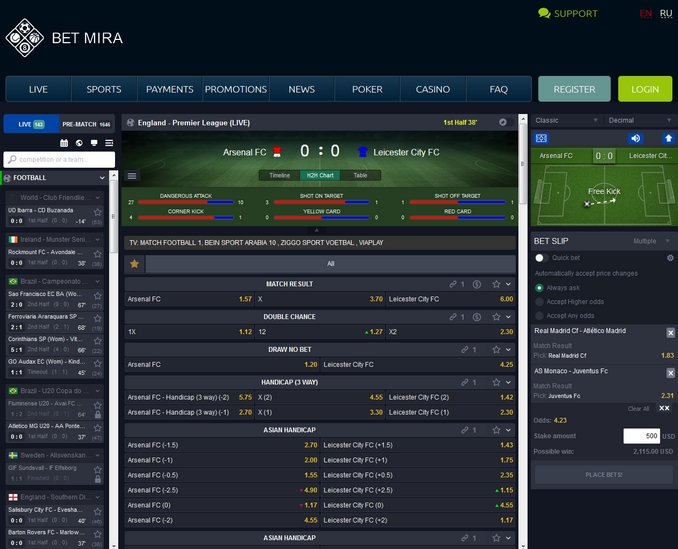 BetMira Live Betting Screen