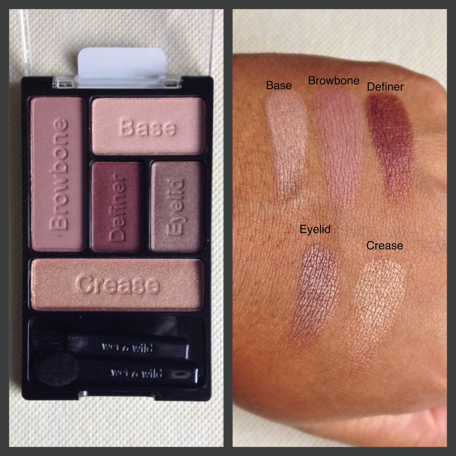Wet n wild smoke and melrose limited edition palette swatches on dark skin