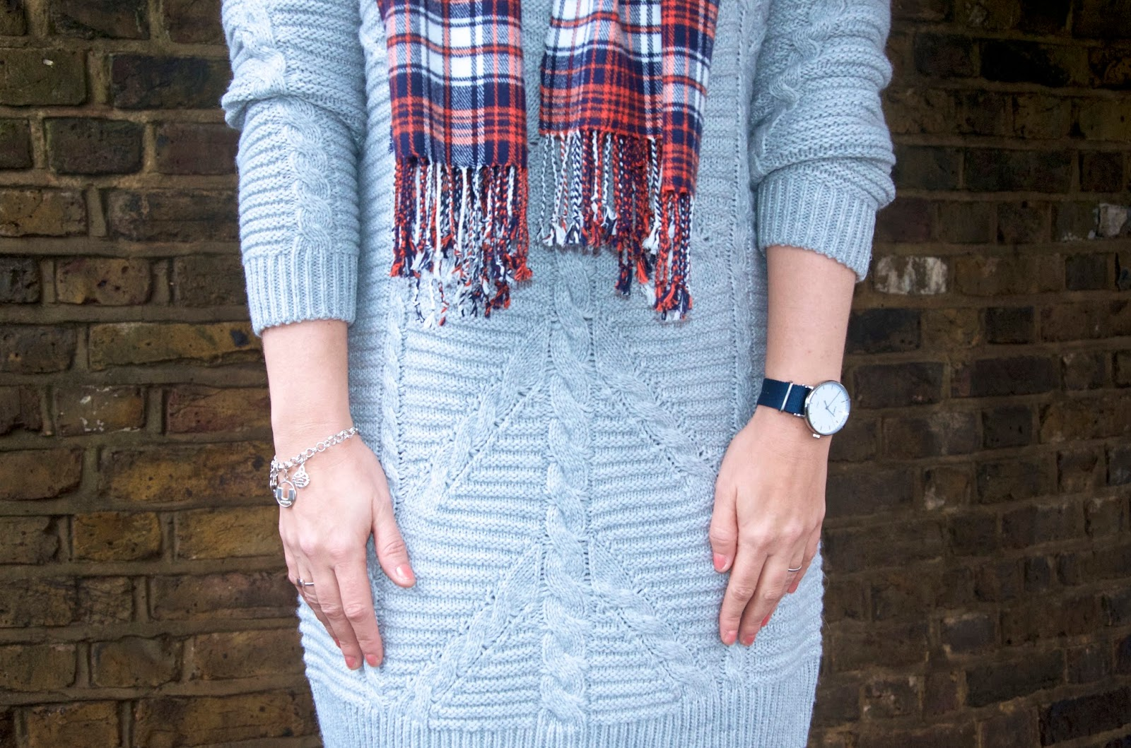 gray sweater dress and navy watch