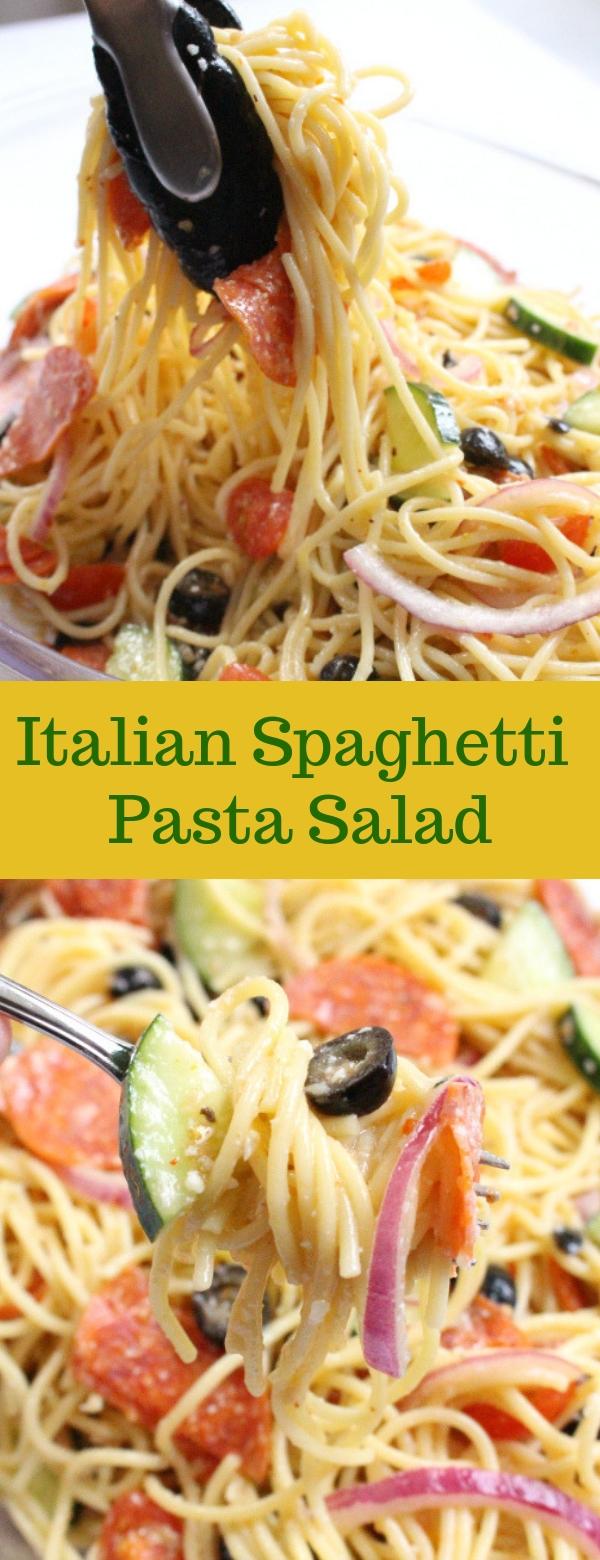 Italian Spaghetti Pasta Salad #SPAGHETTI #PASTA #SALAD