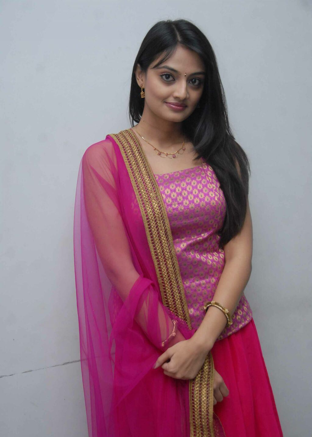Tollywood Actress Nikitha Narayan Hot Face Photos In Pink Salwar Churidar