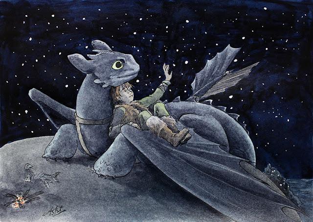 fanart de Dragon : Toothless & Hiccup admirant les étoiles