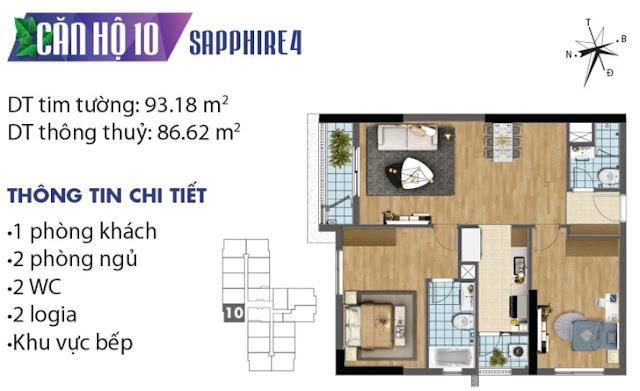 Mặt bằng thiết kế căn số 10 tòa Sapphire 4