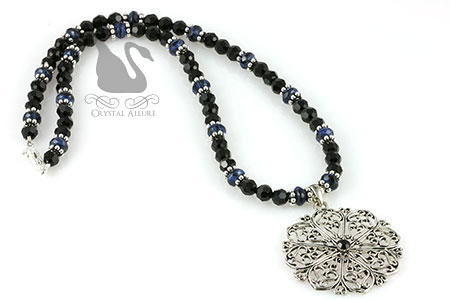 Blue Lapis Gemstone Crystal Filigree Snowflake Pendant Necklace (N069)